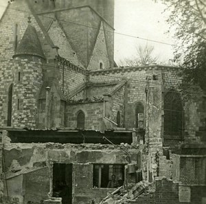 France WWI Man posing in Church Ruins old SIP Photo 1914-1918