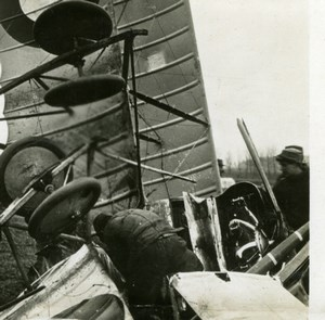 France WWI Downed Aircraft Rescuing the Pilot Aviation old SIP Photo 1914-1918