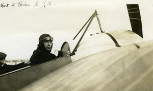 France Aviation Aviator Emile Vedrines' Death Old RPPC Photo 1914