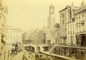 Netherlands Utrecht Oude Gracht Canal Street Scene old Albumen Photo 1890