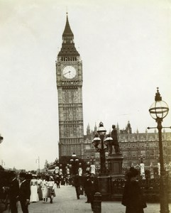 UK London Westminster Big Ben Clock Tower Animated Old Snapshot photo 1900