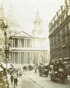 UK London St Paul Church Animated Street Scene Old Snapshot photo 1900