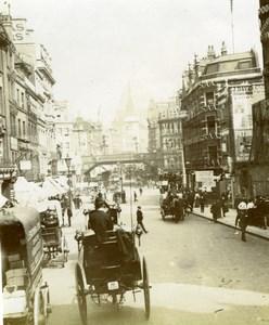 UK London Fleet Street Animated Street Scene Old Snapshot photo 1900