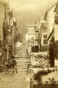 United Kingdom Clovelly Devon Village New Inn Boy & Donkey Old Photo 1880