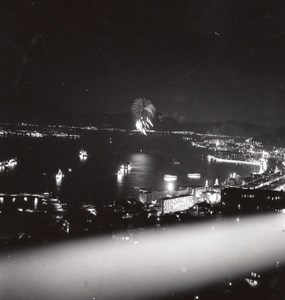 USA? Unidentified City Fireworks over Seaside Bay River Old Snapshot Photos 1940