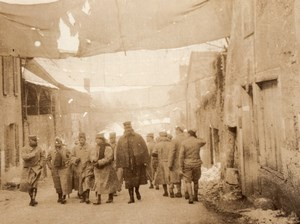 France WWI WW1 Village Camouflage Canvas Covered Street Old Photo 1914-18