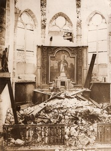 Northern France WWI WW1 Church Interior Ruins Altar Old Photo 1914-1918