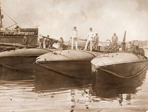 Italy WWI WW1 Minelayer & Crew Old Photo 1914-1918