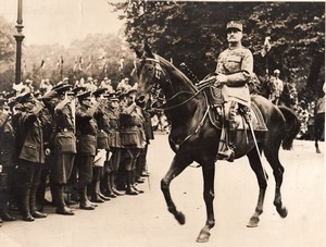 France Marshal Foch Peace March Parade Horse Guardsmen Old Photo 1919