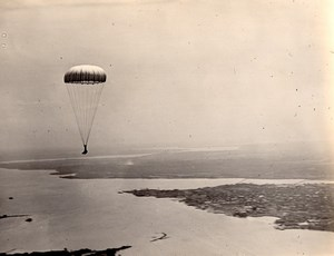 USA Military Aviation Parachute Jumping Old US Navy Photo 1920's