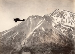 USA Aviation Militaire Manoeuvres US Navy? Biplan en Vol Montagnes Ancienne Photo 1920's