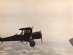 USA Military Aviation US Navy Biplane in Flight Man on Wing Old Photo 1920's