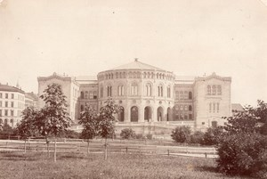 Norway Oslo Christiania Storting building Parliament Old Photo 1880