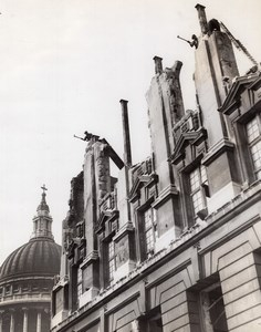 WW2 WWII London German Bombings Ruins St Paul Cathedral Old Photo 1941