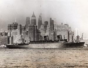 New York Skyline USS West Point Expelled German Diplomats WWII WW2 Photo 1941