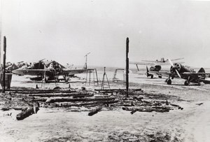 Russia Damaged Russian Air Force Airfield after German Bombing Old Photo 1941