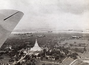 Burma RAF Bomber Squadron flying over Shwedagon Pagoda Old Photo 1941