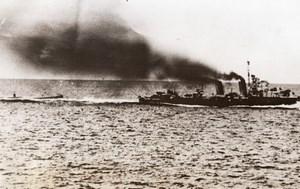 German submarine u-boat rammed by British Destroyer WWII WW2 Old Photo 1941