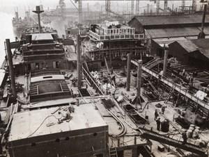 England Shipbuilding Shipyard Cargo Ship & Tanker being built Old Photo 1941