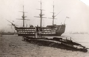 Portsmouth HMS Victory towed to Dockyards for Overhauling Old Photo 1922