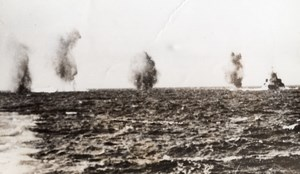 Mediterranean Sea HMS Warspite German Bombing Misses Old Photo 1941