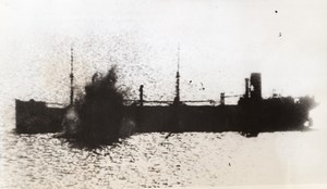 Off Tunisia Italian Supply Ship sunk by RAF Blenheim Bombers Old Photo 1941