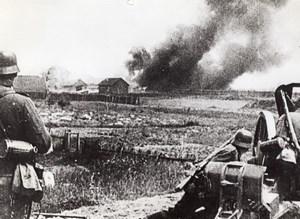 German Horrors in Russia Soviet Farm in Flames WWII WW2 Old Photo 1941