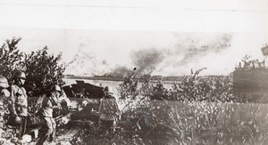 Russia Red Army Artillery firing on Enemy Troops WWII WW2 Old Photo 1941