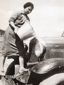 Russia War Effort Woman replaces Husband as Car Driver WWII WW2 Old Photo 1941
