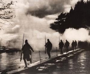 Russia Red Army Infantry Pontoon Bridge River WWII WW2 Old Photo 1941