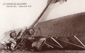 France WWI Aviation Biplane Farman F.50 Crash Old Noyer RPPC Photo 1918