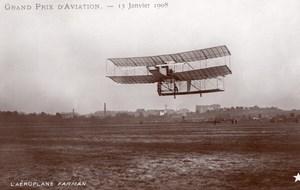 France Aviation Grand Prix Farman Airplane Flight Marque Etoile RPPC Photo 1908