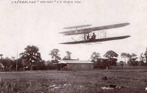 France Aviation Wright Biplane in Flight Old Marque Etoile RPPC Photo 1908