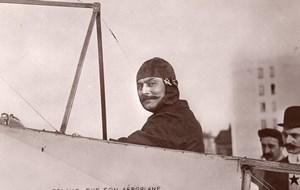 France Aviation Alfred Leblanc Bleriot Ancienne Carte Photo Marque Etoile 1908