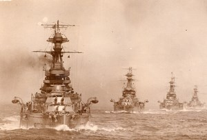 British Battleships steaming in line Naval Disarmament Program Old Photo 1930
