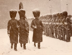London King's Guard of Honour Winter Snow Storm Old Photo 1930