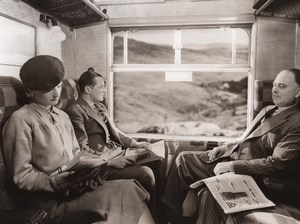 British Railways Passengers sat readin in Train car Old Photo 1930
