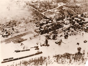 USA Illinois Thebes Mississippi Floods Train passing Aerial View Old Photo 1930