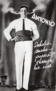 Circus Performer Antonio Galindo Smoke Through Ears Old Photo 1930