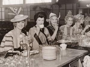 London Olympia Hair and Beauty Fair Tea Break Women Fashion Old Photo 1930