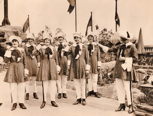 London Selfridges Waitresses in French Student Costume Trousers Old Photo 1930