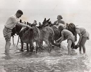 Ramsgate Vacances a la Plage Bain de Mer des Anes Ancienne Photo 1930's