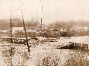 USA California Storm Floods Los Angeles to Glendale Bridge Old Photo 1927