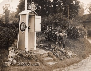 Somerset Newton St Loe RAC Scout Emergency Telephone Box Garden Old Photo 1930
