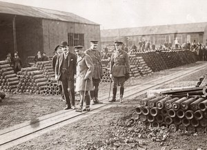 WWI King George Inspecting Munition Factory Shells Old Photo 1914-1918