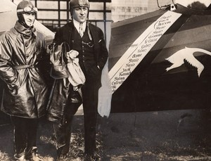 France Aviation Aviators Rignot & Costes Breguet 19 Airplane Old Photo 1927