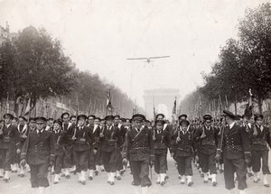 France Paris Military Parade Champs Elysees Airplane Flying Old Photo 1930