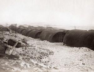 Belgique ou France? WWI Baraquement Nissen Huts Front de l'Ouest Ancienne Photo 1914-1918