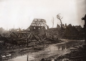 France WWI Somme Miraumont Ruins Main street Old Photo 1914-1918
