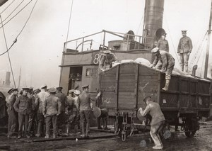 Belgium or France? Western Front Unloading Flour Railway Old Photo 1914-1918
